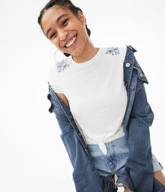 Aeropostale Seriously Soft Floral Embroidered Crew