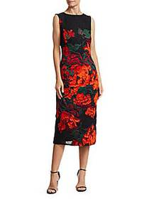 Trufted Rose Fitted Sheath Dress BLACK RED