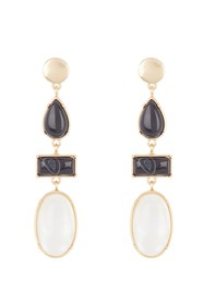 Lucky Brand Black Agate & White Mother of Pearl Ea