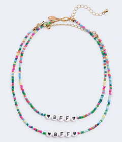Aeropostale Best Friends Beaded BFF Necklace 2-Pac