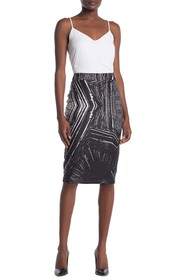 FRNCH Abstract Print Pencil Skirt