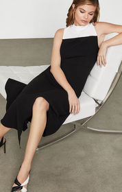 BCBG Two-Tone Mock Neck Dress
