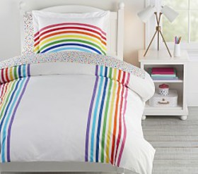 Pottery Barn FLOUR SHOP Organic Rainbow Duvet Cove