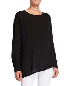 Neiman Marcus Asymmetrical Long-Sleeve Metallic Sw