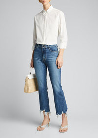 J Brand Julia High-Rise Flare Jeans with Shredded