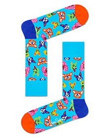 Happy Socks - Color-Blocked Funny Dog Crew Socks