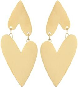 Fossil Two Hearts Stainless Steel Drop Earrings