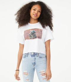 Aeropostale Baby Yoda Cropped Graphic Tee