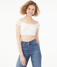 Aeropostale Lace-Up Daisy Mesh Crop Top
