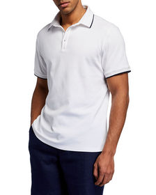 Neiman Marcus Men's Solid Tipped Polo Shirt