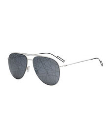 Dior Men's Printed Mirror-Lens Metal Aviator Sungl