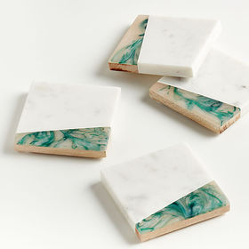 Crate Barrel Green Resin/Marble Coasters, Set of 4