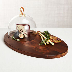 Crate Barrel Prospect Serving Board with Glass Dom