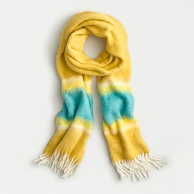 J. Crew Fuzzy fringe scarf with watercolor stripe