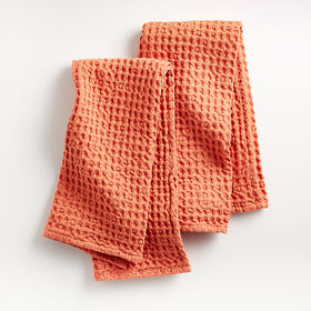 Crate Barrel Oversized Waffle Melon Dish Towels, S