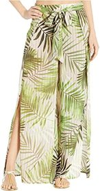 Vince Camuto Tropical Wrap Tie Cover-Up Pants w/ S