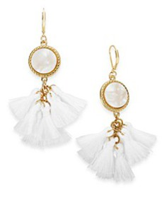 INC Gold-Tone Tortoise-Look Multi-Tassel Drop Earr