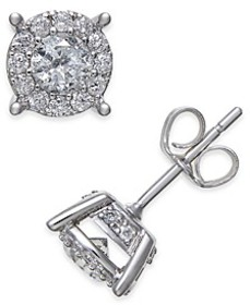 Diamond Halo Two-Level Stud Earrings (1 ct. t.w.)