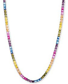"Cubic Zirconia Rainbow 18"" Statement Necklace in S"