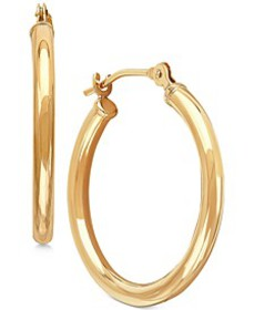 Polished Tube Hoop Earrings in 10k Gold, 4/5 inch
