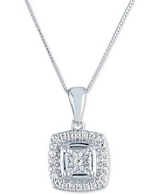 "Diamond Cluster 18"" Pendant Necklace (1/8 ct. t.w."