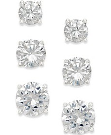 Cubic Zirconia Stud Earring Set in 18k Gold over S