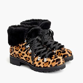 J. Crew Nordic boots in leopard calf hair