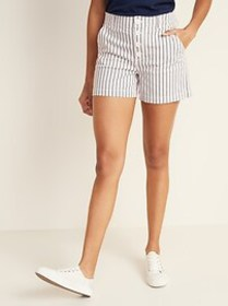 High-Waisted Button-Fly Herringbone Shorts for Wom