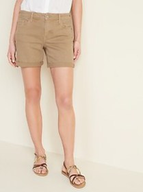 Mid-Rise Tan-Color Jean Shorts for Women -- 5-inch
