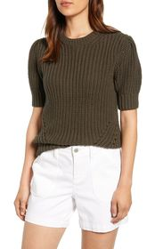 Lucky Brand Shoulder Pleat Short Sleeve Knit Sweat