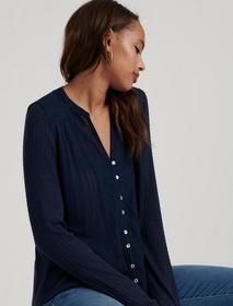 Lucky Brand Drop Needle Woven Mix Top