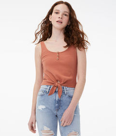 Aeropostale Tie-Front Cropped Henley Tank***