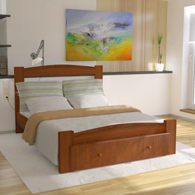 JUMPER Twin Bed Solid Wood Platform Bed with Headb