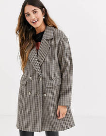 Pull&Bear double breasted check coat in multi