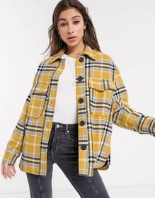 Bershka checked overshirt in mustard