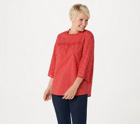 LOGO by Lori Goldstein Eyelet Woven Blouse with Ru