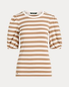 Ralph Lauren Striped Puff-Sleeve Cotton Top