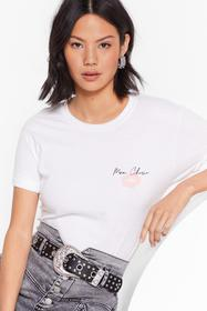 Nasty Gal White Mon Cherie Graphic at Front T-Shir
