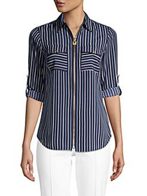 MICHAEL Michael Kors Striped Zip-Front Shirt CHAMB