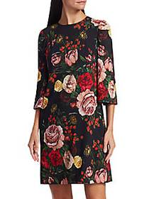 Dolce & Gabbana Crepe Rose Print Shift Dress ROSE