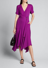 A.L.C. Claire Belted Handkerchief Silk Dress