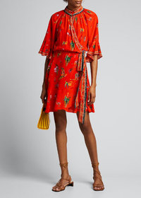 Camilla Raglan-Sleeve Floral Wrap Dress