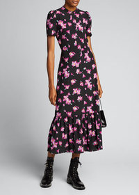 A.L.C. Dylan Floral Short-Sleeve Flounce Dress