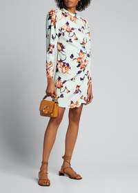 A.L.C. Jane Floral Crepe Puff-Sleeve Dress