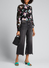 A.L.C. Venetia Floral High-Neck Keyhole Top