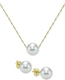 2-Pc. Set Akoya Cultured Pearl (7mm) Pendant Neckl