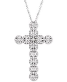 Diamond Cross Adustable Pendant Necklace (1/2 ct.