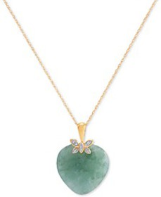 "Jade (19mm) & Diamond Accent Heart 18"" Pendant Nec"