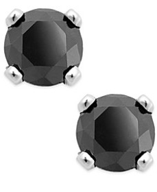 Black Diamond Round Stud Earrings in 10k White Gol