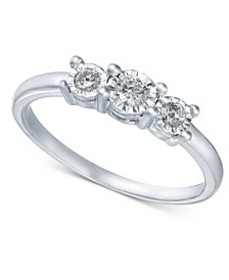 Diamond 3-Stone Promise Ring in 10k White Gold (1/